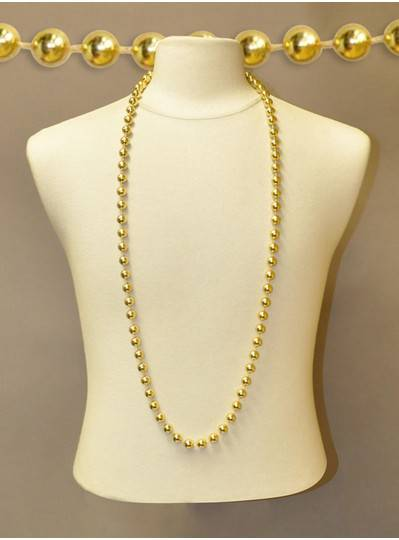 "48"" Inch 12mm Round Metallic Gold Beads"