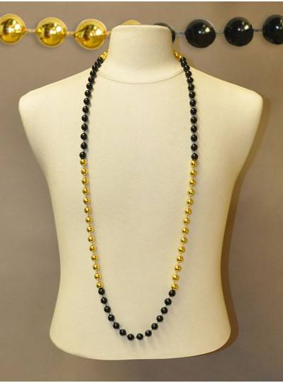 "48"" Inch 12mm Black & Gold Section Bead"