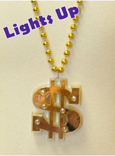 LED Lighted Dollar Sign Necklace
