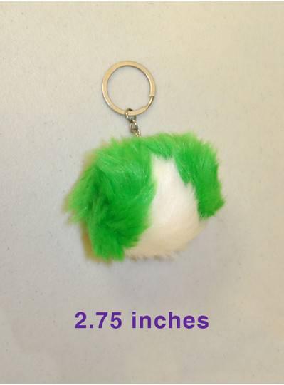 Green and White Pom Pom Keychain