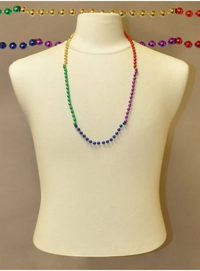 "33"" 7mm Round Metallic Section Rainbow Bead"