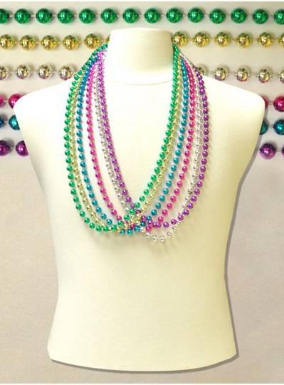 "36"" Inch 10mm Assorted Metallic Beads"