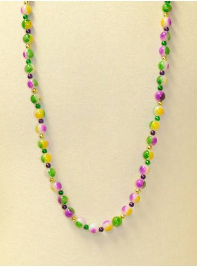 "39"" Purple, Green and Gold Pearl 3 Tone with Purple, Green and Gold Spacer Beads"