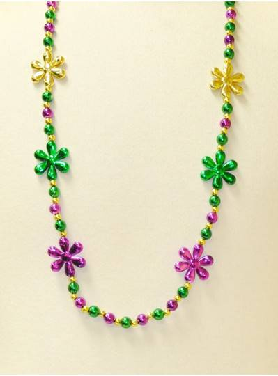 """40"""" 10MM  Purple, Green and Gold Flowers and Beads with Gold Spacer Beads"""