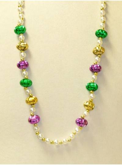 """36"""" 10 White Pearl  With 12 Purple, Green and Gold Pumpkins and Gold Spacer Beads"""
