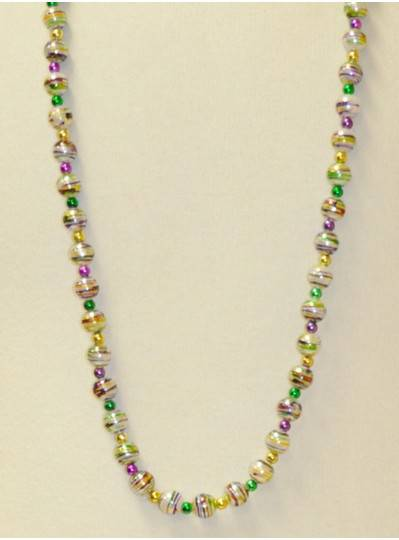 """39"""" 12 White with Purple, Green and Gold Stripes and Spacer Beads"""