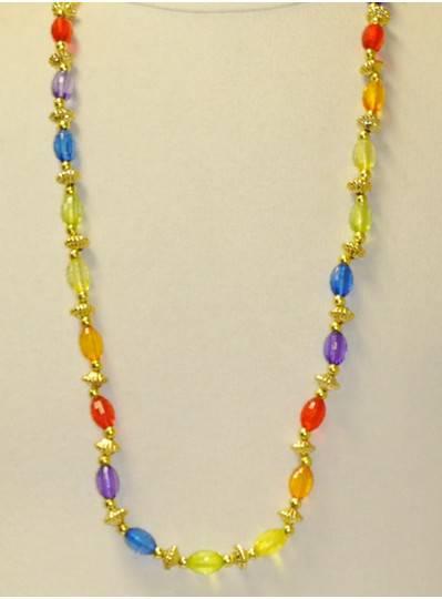 "38"" 15MM Assorted Rainbow Transparent Globe Oval Beads"