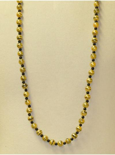 """39"""" 12MM Gold Beads with Black Stripes and Spacer Beads"""