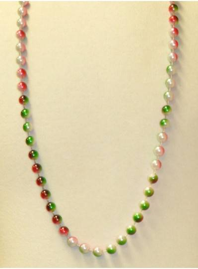 "42"" 12MM  3 Tone Red, White and Green Mardi Gras Beads"