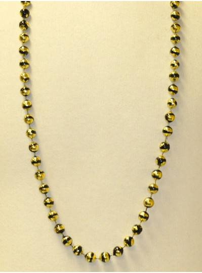 "42"" 12MM  Gold Metallic With Black Stripes Mardi Gras Beads"