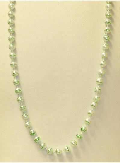 "42"" 12MM  White Pearl with Green Stripes Mardi Gras Beads"