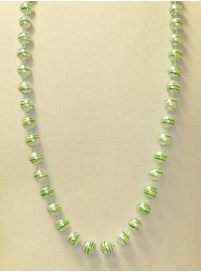 "42"" 16MM  White Pearl with Green Striped Beads"