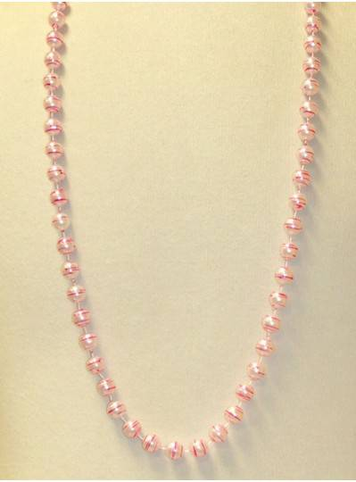"42"" 12MM  White Pearl with Pink Stripes Mardi Gras Beads"