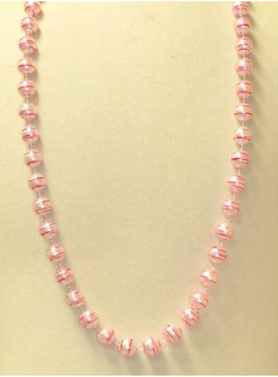 "42"" 16MM  White Pearl with Pink Stripes Mardi Gras Beads"