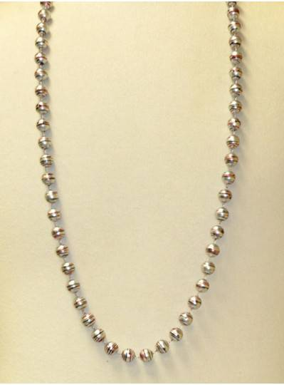 "42"" 12MM  Silver with Red and Black Stripe Mardi Gras Throw Beads"