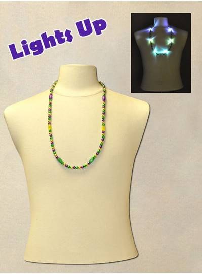 "33"" Purple, Green and Gold Blinky Bead with 6  Flashing Lights"