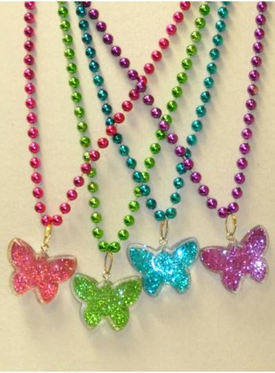"""33"""" 7MM Glitter Butterflies, Purple, Green, Red and Turquoise"""
