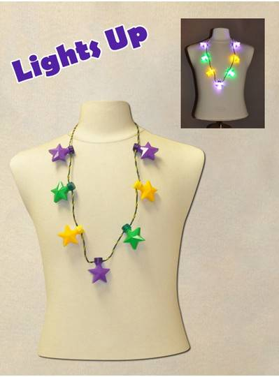 """38"""" Necklace with 7 Blinking Purple, Green and Gold Stars"""
