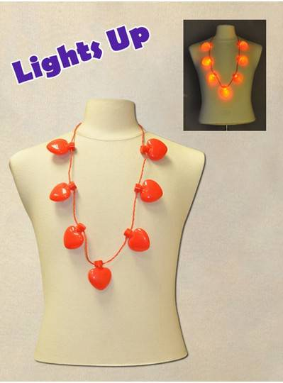 """38"""" Necklace with 7 Blinking Red Hearts"""
