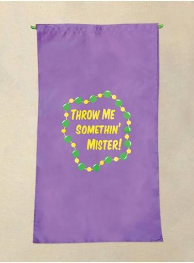 "20"" X 34"" Purple Mardi Gras Throw Me Somethin Mister Bag"