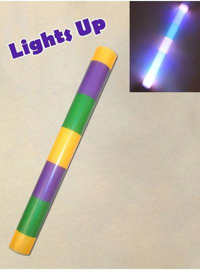Purple, Green and Gold Light Up Foam Stick