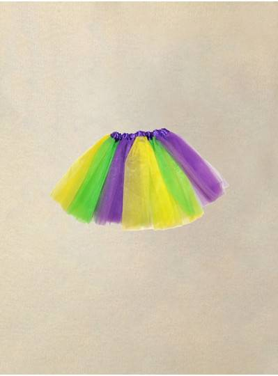 "Purple, Green and Gold TuTu Child Size 16""-26"" waist and 12"" long"