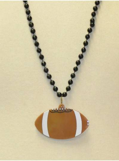 "33"" 7.5MM Black Beads with 2.5"" Brown Football Disc"