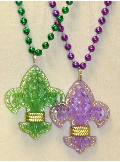 "33"" Purple and Green Fleur De Lis with Gold Trim"
