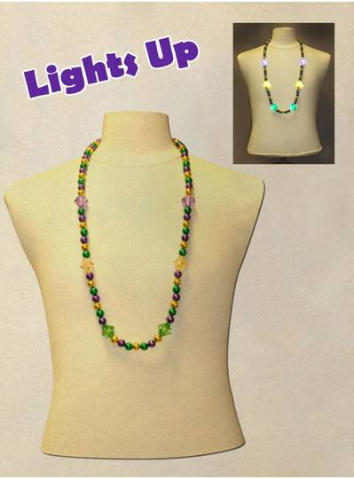 """33"""" 12MM Purple, Green and Gold LED Faceted Mardi Gras Beads"""