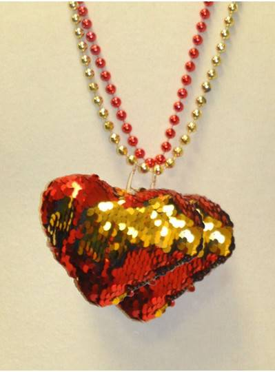 """33"""" 7MM Red and Gold Sequin Heart on Red and Gold Metallic Beads"""