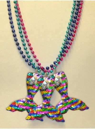 """33"""" 7MM  Sequin Mermaid Tail on Purple, Pink, Turquoise and Blue Metallic Beads"""