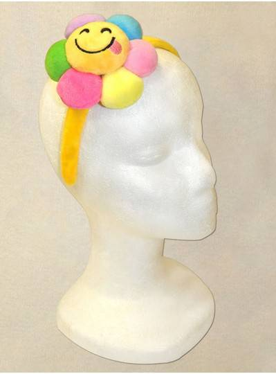 Smiley Flower with Purple, Green and Yellow Headbands