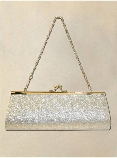 Fun Accessories - Silver Glitter Mardi Gras Clutch Purse