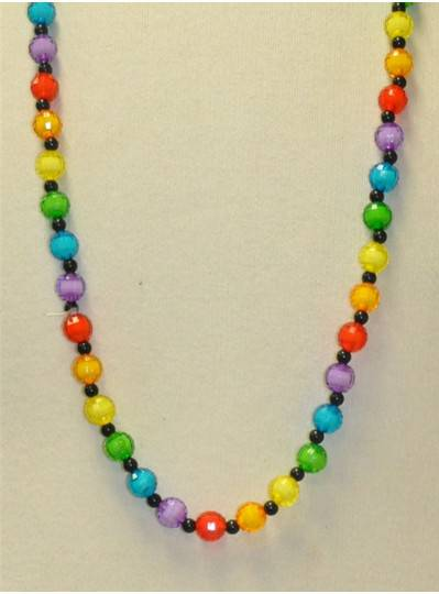 "38"" 12MM Rainbow with Black Spacer Beads"
