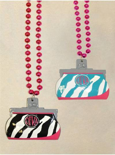 "36"" 10MM Zebra Print Black, Turquoise, Pink and White Purse"