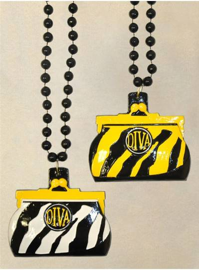 "36"" 10MM Zebra Print Black, Yellow and White Purse"