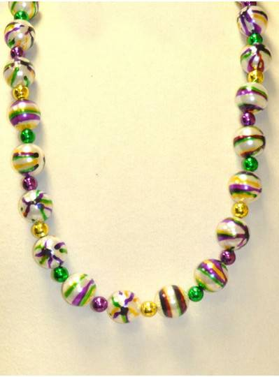 "36"" 25MM  Purple, Green and Gold Stripes with 12MM Spacer Beads"