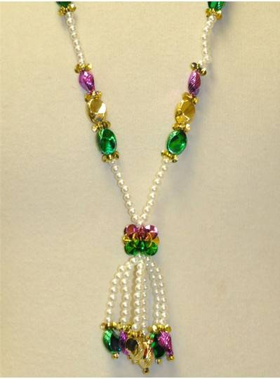 """36"""" Purple, Green and Gold Beads with Tassels"""