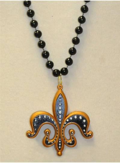 "39"" 10MM New Orleans Fleur De Lis Medallion on Black Bead"