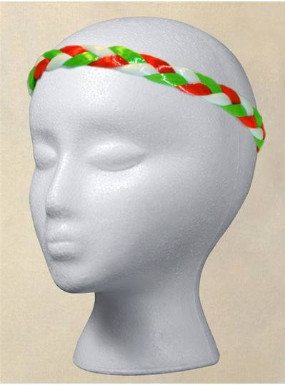 Fun Accessories - Green, White & Red Braided Headband