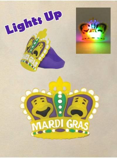 Light Up Rubber Mardi Gras Crown Ring