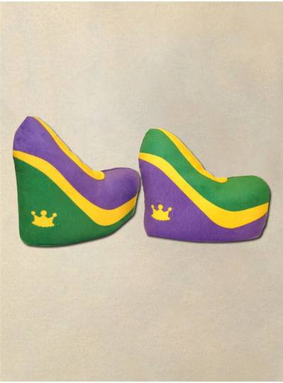 Plush Dolls & Toys - Purple, Green and Gold Plush Wedge Shoes