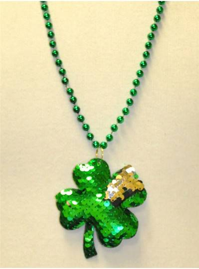 """33"""" 7MM Green Sequin Clover on Matching Metallic Beads"""
