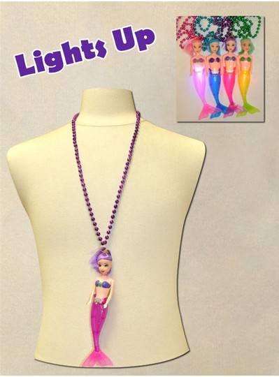 "33"" 7MM Assorted Lightup Mermaids with Matching Metallic Beads"