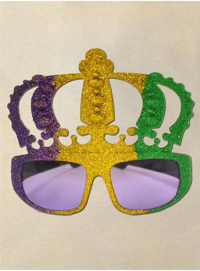 Big Crown Sunglasses with Purple, Gold and Green Glitter