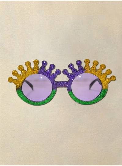 Crown Sunglasses with Purple, Gold and Green Glitter