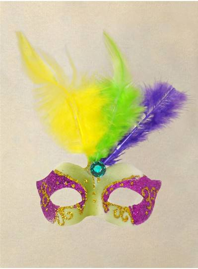 Magnetic Purple, Green & Gold Feather Mask