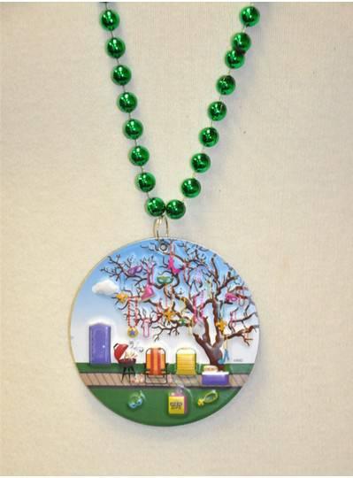 "36"" 10MM Green Metallic Bead with Mardi Gras Tree Embossed Magnet"