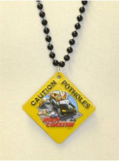 "33"" 8MM Black Bead/ NOLA Coaster Embossed Magnet"