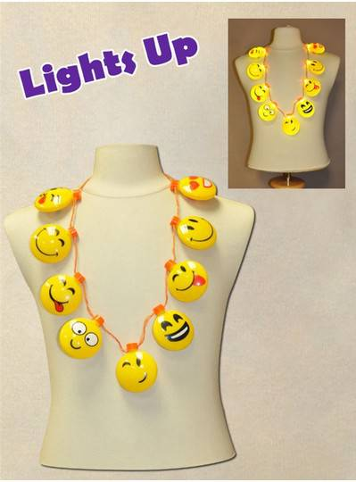 Nine Blinking Smiley Faces Necklace